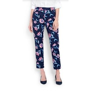 NWT Lands' End Mid Rise Straight Leg Floral Pant